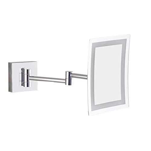 ALYR LED Makeup Schminkspiegel- Beleuchtete Kosmetik Mirror, Quadratisch Wandmontierte Badezimmerspiegel Chrome Finish,Silver_8.5 inch -