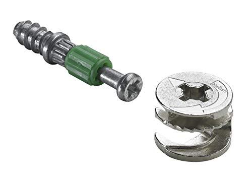 Hettich 9220209 Verbindungsbeschlag (Möbelbeschlag) 15/20 mm Rastex - Bohr-Ø 12mm, Zinkdruckguss, 16 Stück, verzinkt/blank