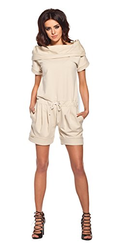 Lemoniade stylischer Jumpsuit ohne Ärmel mit elegantem Wasserfallkragen und ausgefallener Schnürung an der Hüfte (S (36), Modell 2 Beige)
