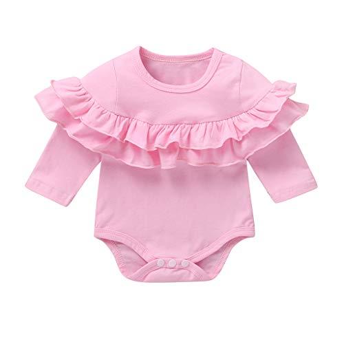 Julhold Kleinkind Baby Kinder Mädchen Jungen Doppel Rüschen Feste Dünne Strampler Body Lässige Baumwollkleidung 0-18 Monate