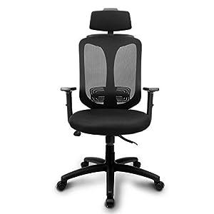 INTEY Bürostuhl, ergonomischer Schreibtischstuhl, atmungsaktiv, Wippfunktion bis 26°, verstellbare Kopfstütze und Lendenstütze, Office Chair, Bürosessel, Belastbar bis 130 kg