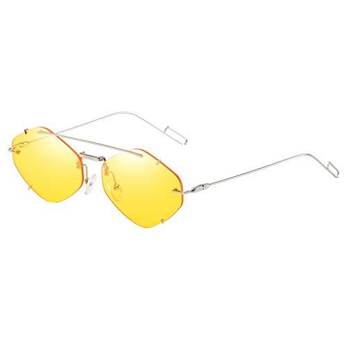 Lazzboy Frauen Flache Linse Verspiegelt Metallrahmen Brille Cat Eye Sonnenbrille Neu Unisex Fashion Unregelmäßige Form Metall Spiegel Gläser Leichte Retro Trend Sonnenbrillen(Gelb)