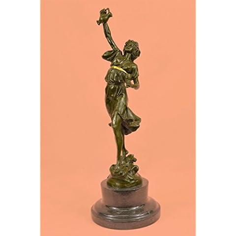 Statua di bronzo Scultura...Spedizione Gratuita...Genuine marmo base metallica greco signora Girl Brocca Vaso(XNCH-3135G-EU)Statue Figurine Figurine Nude per ufficio e casa Décor Primo Giorno Collezi