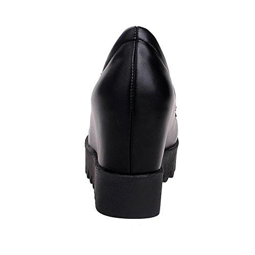 VogueZone009 Femme à Talon Haut Mosaïque Tire Matière Souple Rond Chaussures Légeres Noir
