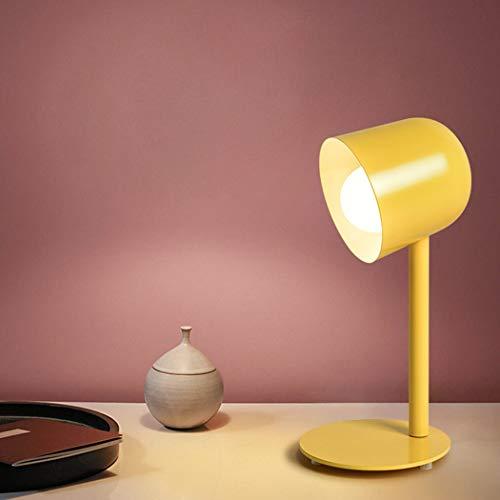 YJFFAN Nordische Kreativitäts-Schreibtischlampe, Studenten-Augenschutz-Schreibtischlicht-Nachtlicht einfache Tischlampe-bunter Aluminiumschirm für Studie, Lesen, Büro und Schlafzimmerlicht,Yellow