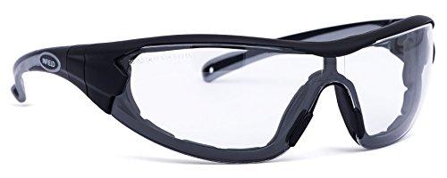 Infield Schutzbrille Modell Velor anthrazit/grau PC AF AS UV Modell 9601 155 nur 34 Gramm, Bügel gegen Band auswechselbar, ideal für Schlosserearbeiten oder zum Motorrad fahren, sehr schmale Bauart