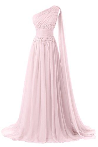 Sunvary 2016 Lang Ein-Schulter Applikation Chiffon Abendkleider Neu Ballkleid Mutterkleid Falte Rosa