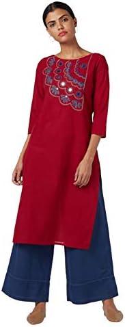 Okhai Women's Cotton Red Straight Kurta - 3/4 Sleeves - Boat