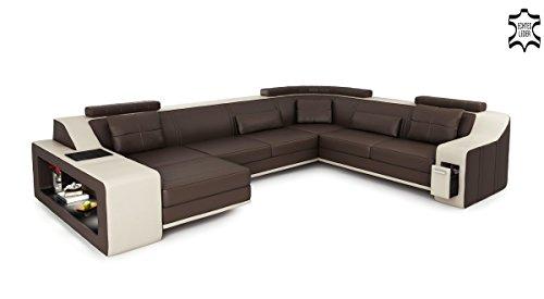 XXL Wohnlandschaft Leder grau / schwarz Couch Sofa U-Form Ledersofa Ledercouch Designsofa mit LED-Licht Beleuchtung EMPORIO - 5