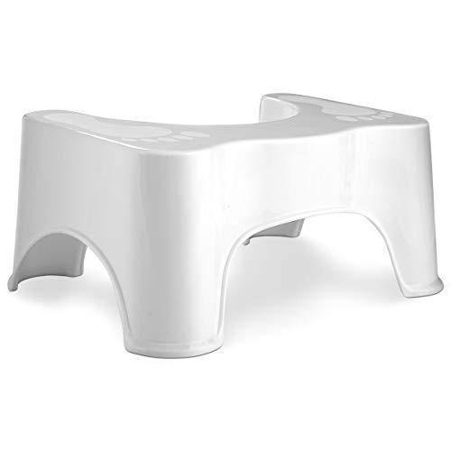 COSTWAY WC-Hocker, medizinischer Toilettenhocker, Tritthocker Badezimmer, für eine bessere Körperhaltung auf der Toilette, für Kinder oder Erwachsene, rutschfest, weiß
