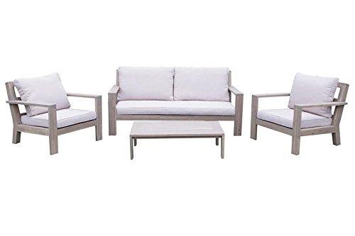 SONDERPOSTEN: VILLANA Loungemöbel, hellgrau/taupe, Holz, 4 Personen, inkl. Polster und Beistelltisch