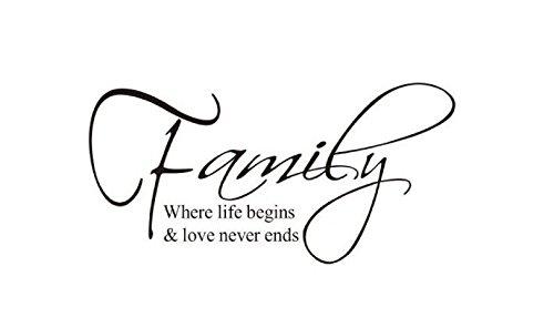Rethinkso etiquetas engomadas del arte fresco de la pared decoracion Casa desplazables pegatinas de pared (Family, where life begins, love never ends)
