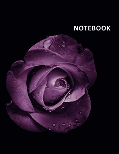 f291159117d4 College Ruled Notebook: Purple rose Elegant Student Composition Book Daily  Journal Diary Notepad floral print