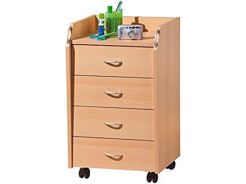 Inter Link Rollcontainer Bürocontainer Rollschrank Schubladenkommode Büroschrank KF-Board Buche Nachbildung B x H x T: 40 x 65 x 36 cm