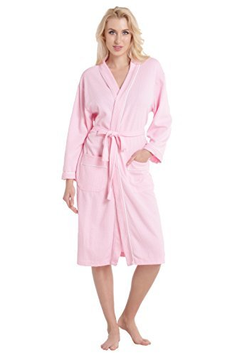 Aibrou Damen Badem ntel Waffel-Webart Spa Robe Kimono leichter Baumwolle Robe gro Rosa -