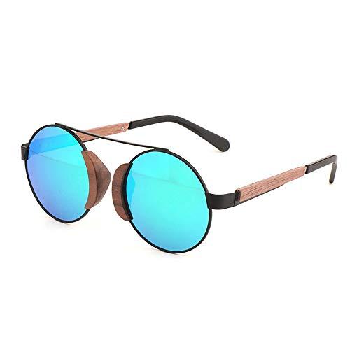Easy Go Shopping Black Walnut Frame UV400 Grün Lila Runde Damen Sonnenbrille Bamboo Wood Glasses Polarized Sunglasses Sonnenbrillen und Flacher Spiegel (Farbe : Green)