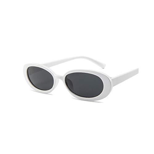Sportbrillen, Angeln Golfbrille,Style Oval Sunglasses Women Vintage Retro Round Frame White Mens Sun Glasses Female Black Hip Hop Clear Glasses UV400 WhiteGray