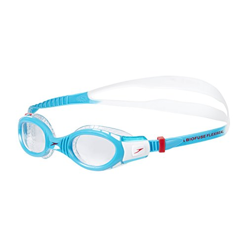 Speedo Kinder Futura Biofuse Flexiseal Junior Schwimmbrille, Weiß/Türkis/Transparent, One Size