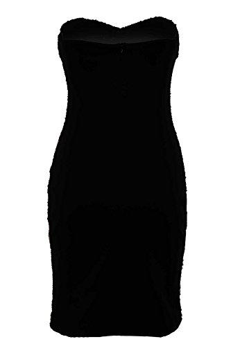 SAPHIR Femmes Bandeau Bootbube rembourré Teinture Profonde Sequin femmes Mini Robe Bodycon Noir/Or