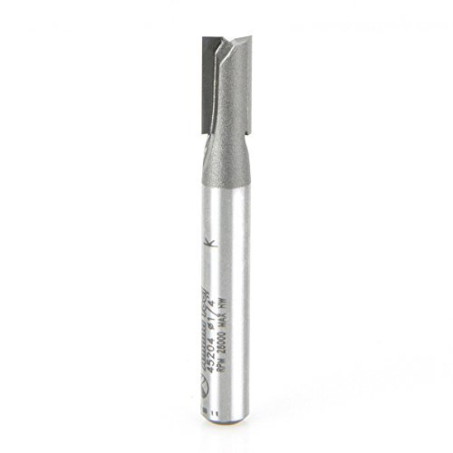 Amana Tool 45204 Straight Plunge 2-Flute Carbide Tipped Router Bit, 1/4-Inch Shank by Amana Tool -