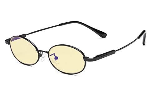 Eyekepper Anti Blaulichtgläser für Kindercomputerbrillen Pilot Stil Erinnerung Gestell-Gelb getönte Brillengläser (Schwarz)