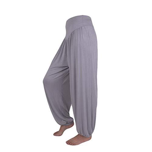 Pantalon Spandex Doux Modal Pantalon Harem Yoga Pilates Pants Lanterne Femmes SANFASHION(Gris,M)