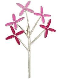 Aastha Jain Silver Pink Enamel Brooch for Women