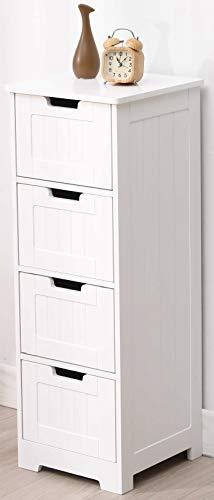 Etnicart - mobile bagno ingresso e soggiorno a 4 cassetti in legno mdf 30 x 30 x 81 cm. bianco-prodotto di qualita'
