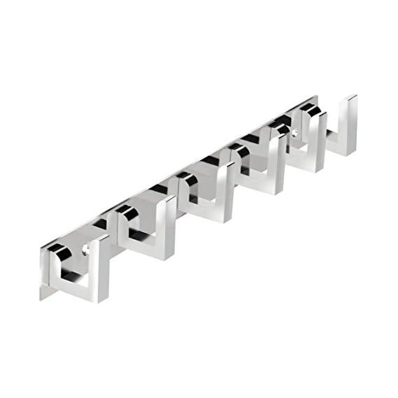 Docoss -Classic Glossy- 6 Pin Bathroom Cloth Hooks Hanger Door Wall Robe Hooks Rail For Hanging Keys,Clothes,Towel Steel Hook (1)