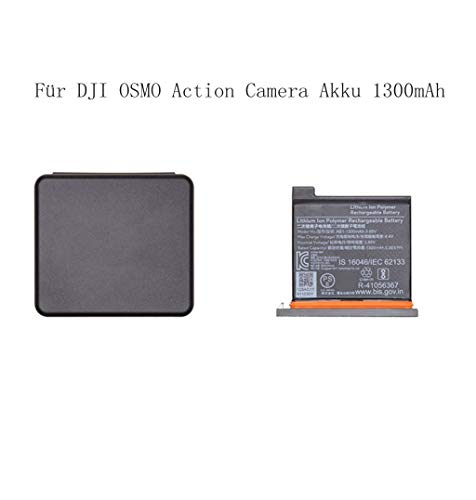 LCLrute Für dji osmo action camera akku 1300mah mit fall camcorder ersatzteile (Schwarz) Fall-camcorder