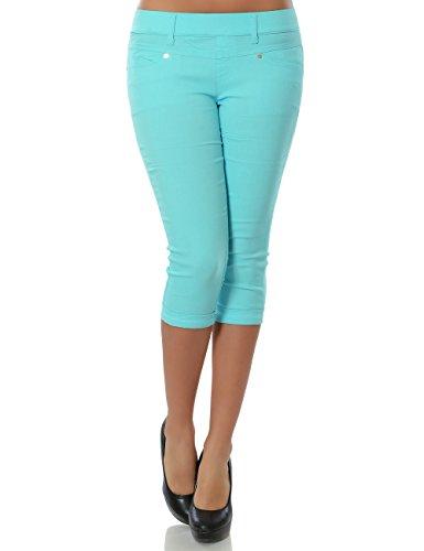Damen Capri Hose Sommerhose Kurze-Hosen (weitere Farben) Türkis