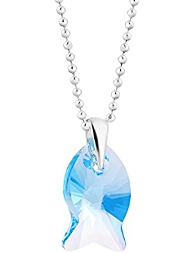 fish Mädchen Jungs Silberkette Sterlingsilber 925 original Swarovski Elements Fisch-Anhänger hell-blau längen-verstellbar...