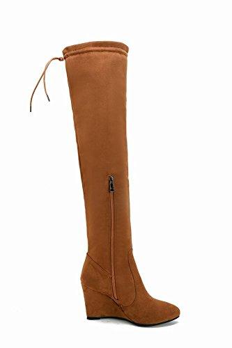 Mee Shoes Damen Keilabsatz langschaft Nubuck Stiefel Gelbraun