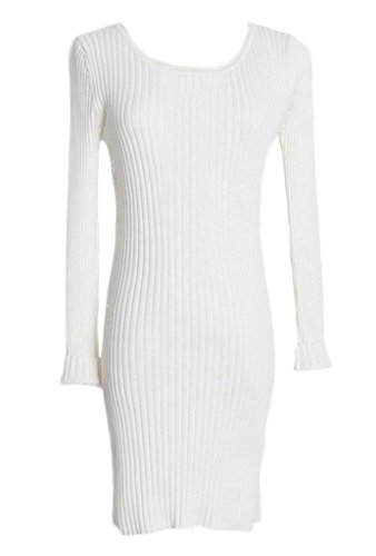 Smile YKK Pull Femme Tricot Mi-long Pull-over Moulant Col Rond pour Automne Printemps Blanc