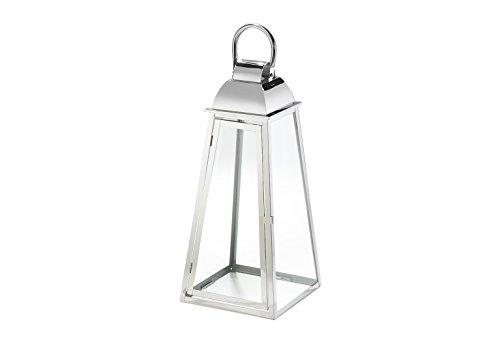 Kobolo Laterne Windlicht Paris aus Glas und Edelstahl Kerzenhalter Edelstahllaterne groß