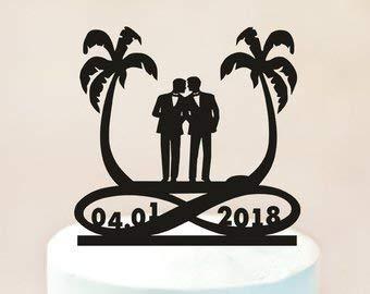 Tortenaufsatz für Strandkuchen, Motiv: Mr und Mr (englischsprachig)
