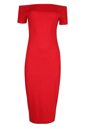 Be Jealous Damen Ebene Jersey aus Schulter Bodycon Damen Lange Midi Bardot Kleid Größe 36-50 Rot
