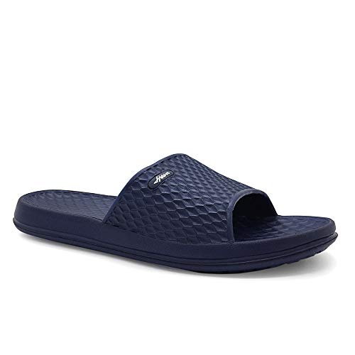 HEVA Herren Slide Dusch & Badeschuhe Sommer Slippers rutschfest Strand Sandalen (43 EU Blau) -