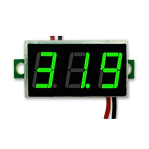 MAXGOODS 3 STK Mini DC 0-30V LED 3-Digital-Anzeige Spannung-Voltmeter Panel Meter mit 2 Drähten(Grün) -