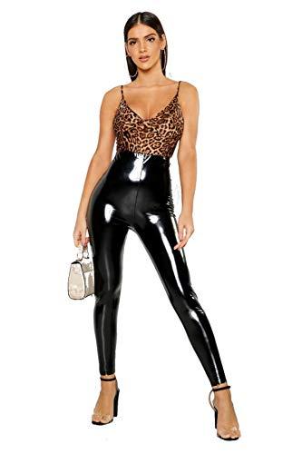 ZJ Clothes Womens Ladies Vinyl Look Wet High Shiny Leggings Girls Skinny PVC Disco Pant (ML-UK/EU 38-40, Black)