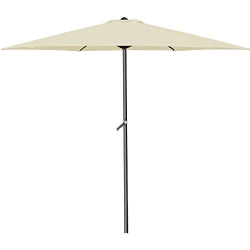 Deuba Kurbelsonnenschirm • Aluminium • Ø300cm • mit Kurbel + Dachhaube • mit Neigevorrichtung • beige - Sonnenschirm Marktschirm Gartenschirm