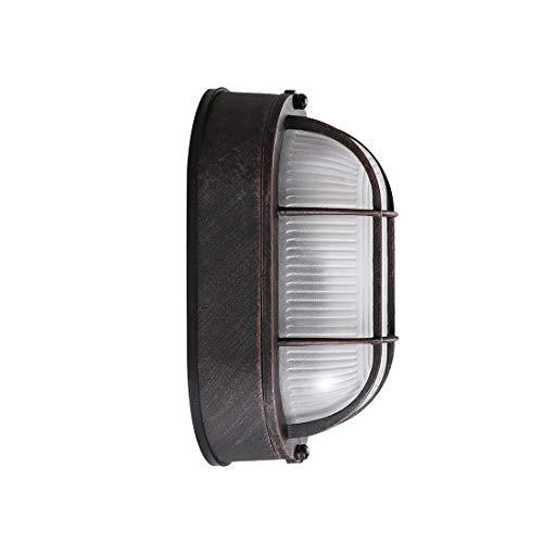 MITOYO LIGHT E27 Wandleuchte Vintage Retro Aussenleuchte Rote Bronze Aluminium Glas Schatten Aussenwandleuchte Oval Design Deckenleuchten Inneres Außen Wand Beleuchtung Wohnzimmer Schlafzimmer Hof