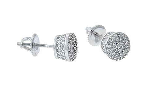 NYC EN ARGENT STERLING 925micro Pave Boucles d'oreilles clous pcs - Sterling Silver Teardrop Di Champagne