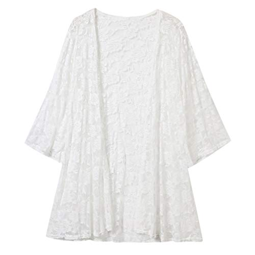 iHAZA Damen Strickjacke Spitze Bestickt Strand Sonnencreme Kleidung Shirt -
