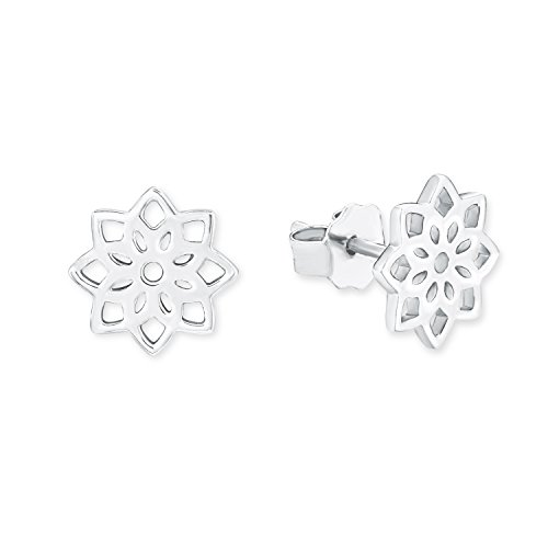 s.Oliver Damen-Ohrstecker So Pure 10 mm Blume 925 Silber rhodiniert