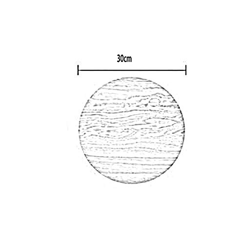 MJK Wandleuchte, Unterputz Wandleuchten, 12W Led runde Holz Wandleuchten Versprechen Dimmen mit Fernbedienung Beleuchtung 30Cm,Schwarze Walnuss Farbe -