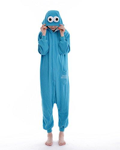 DAYAN Costume di Cosplay del fumetto pigiama animale tuta Tutina Outfit adulti Unisex maschio femminile Sleepwear Sesame Street blu XL