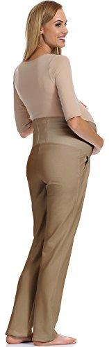 Be Mammy Pantalon de Maternité Femme GX207 Cappuccino