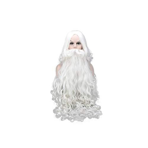 CLHCilihu Perücke Bart Set, Weihnachtsmann Bart Lange Synthetische Realistische Lockige Männer und Frauen Halloween Party Cosplay Kostüm - Synthetische Kostüm Bart Und Perücke Set