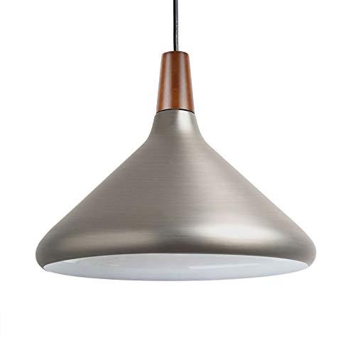 Diolumia - Suspension Dôme en Métal Lisse - Style Industriel - Douille E27 Max.60W - Diamètre 27cm - Eclairage de plafond - Lampe suspendue Restaurant, salle à manger, Câble ajustable - Argenté